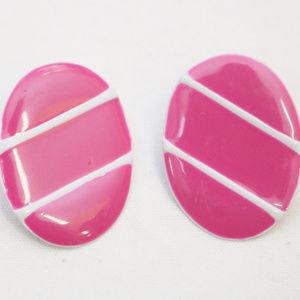 """80's Vintage """"VERONICA"""" Pink Large Fancy Earrings"""
